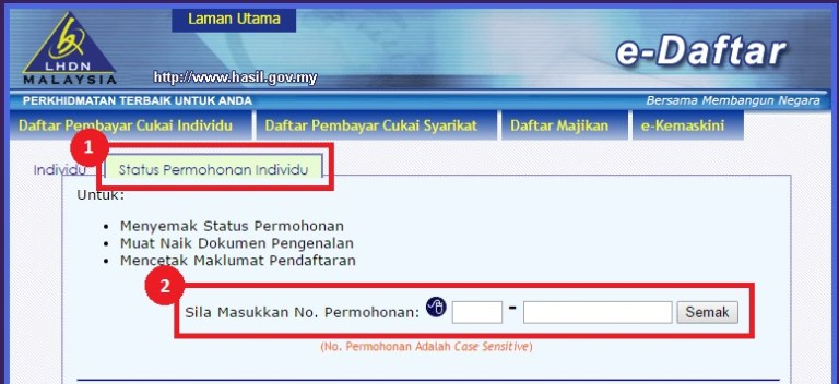status permohonan e-filing